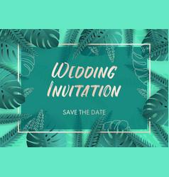 wedding invitation in teal colors with silver vector image