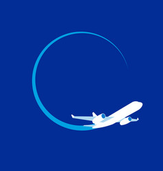 White jet airplane at navy blue background vector