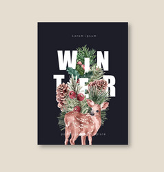 Winter floral blooming poster postcard elegant vector