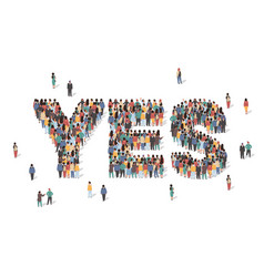 word yes made many people large crowd shape vector image