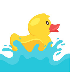 yellow rubber duck splashing water vector image