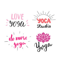 yoga hand drawn labels set calligraphic vector image