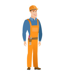 Young caucasian happy builder vector