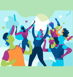 Young people celebrate during a big party vector