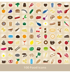100 various food and drink color icons set eps10 vector image vector image