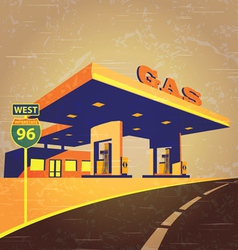 gas station on the road vector image