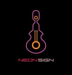 neon sign guitar vector image vector image