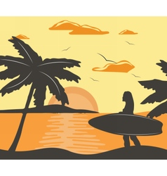 Summer beach with surfing woman vector