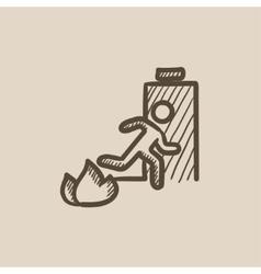 Emergency fire exit door sketch icon vector image vector image