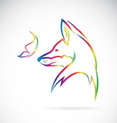 fox and butterfly vector image vector image