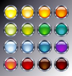 glass and chrome buttons vector image vector image