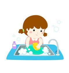 Happy girl washing dish on white background vector