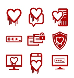 IT security and software bug icons vector image