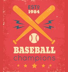 retro poster for baseball vector image