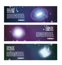 space horizontal banners set vector image vector image