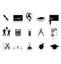 black school icon set vector image vector image