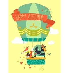Funny friendly animals in hot air balloon Hello vector image vector image