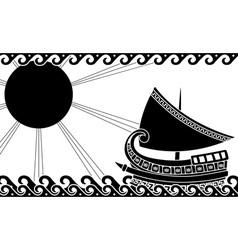 greek ship stencil black vector image