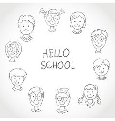 Hello School Kids Face Set Sketch vector image vector image