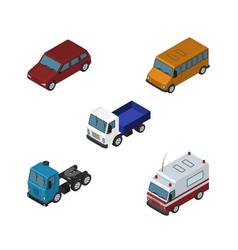 Isometric transport set of autobus truck lorry vector