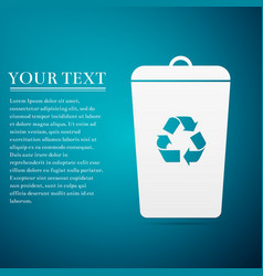 Recycle bin flat icon on blue background vector