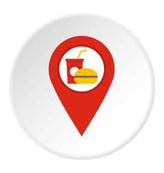 Red map pointer with fast food sign icon circle vector