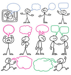 sketch stick figures with blank dialog vector image