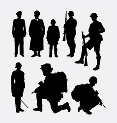 Soldier army and police silhouette 4 vector image vector image