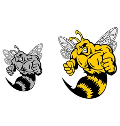 Angry hornet or yellow jacket mascot vector image