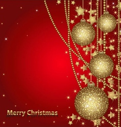 christmas card with gold balls vector image