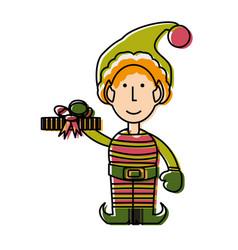 christmas elf ilustratio vector image
