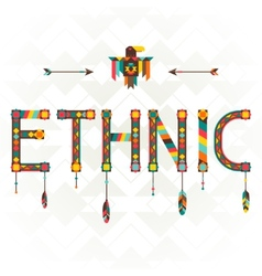 Ethnic design word with ornament vector