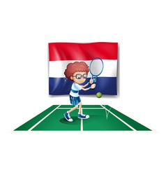 The flag of Netherlands at the back of a tennis vector image