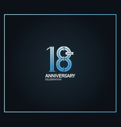 18 years anniversary logotype with cross hatch vector