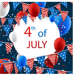 4th july card with balloons vector image