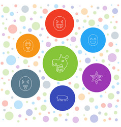 7 comic icons vector image