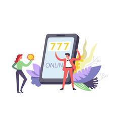 777 online gambling games using internet by phone vector image