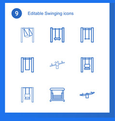 9 swinging icons vector image