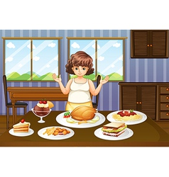 A fat lady in front of a table with many foods vector image