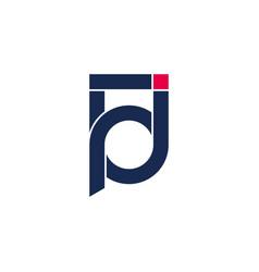 Abstract letter pj geometric line symbol logo vector