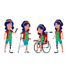 asian girl kid poses set high school child vector image