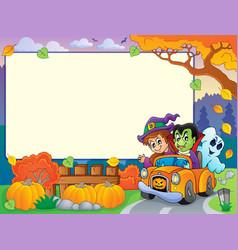 Autumn frame with halloween theme 3 vector