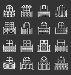 balcony window icons set grey vector image