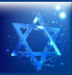 Big star of david glass tamplate judaica vector