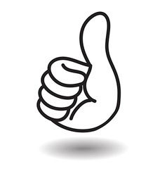 Big thumb up floating on white with shadow vector image