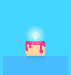 birthday cake on blue background with copy space vector image