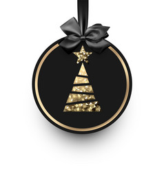 black card with golden christmas tree vector image
