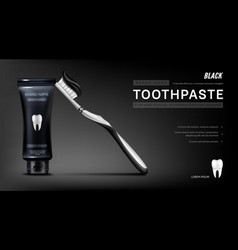 Black toothpaste ads banner with brush and tooth vector