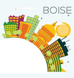 boise usa skyline with color buildings blue sky vector image