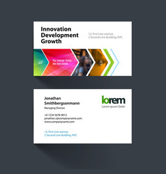 Business card template with colourful vector